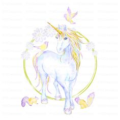 Stickerscape This Mythical Unicorn and Flowers Wall Sticker is the perfect way to brighten up your windows. Designed for a child's bedroom or playroom, this window sticker is perfect for your kid's room. Size: H x W Unicorn Wall Decal, Unicorn Art, Unicorn Themed Room, Wall Sticker Design, Woodland Critters, Gold Watercolor, Mythical Creatures, Clip Art, Drawings