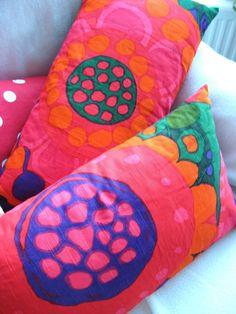 Saini Salonen dining room curtains fabric as cushions