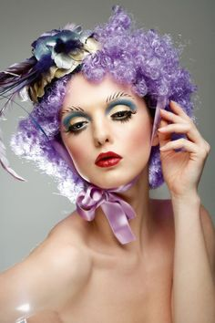 Lavender purple curly hair #clown #circus