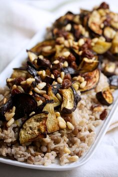 Roasted Eggplant with Pine Nuts & Raisins | Big Girls Small Kitchen