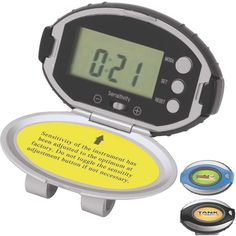 Deluxe Pedometer - Deluxe pedometer with timer, clock, distance and belt clip.