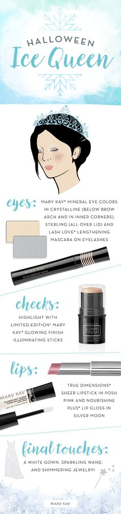 Embrace your inner ice princess or ice queen this Halloween! Make eyes sparkle and shine by applying Mary Kay® Mineral Eye Colors in Crystalline and Sterling to eyelids and inner corners. Want to add a little more glow? Highlight cheeks with Limited-Edition† Mary Kay® Glowing Finish Illuminating Sticks.