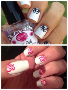 TOP - The Flower Moon from Nail It! Magazine.    BOTTOM - My first attempt.  Hmm, not as easy as it looks when you're doing it on your own nails.