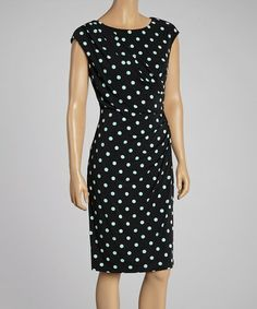 Look what I found on #zulily! Black & Aqua Polka Dot Wrap Dress #zulilyfinds