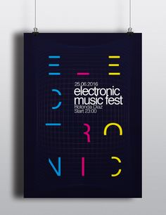 "Graphic project of a poster for the ""Electronic Music Fest"" \ Progetto grafico di un poster per l' ""Electronic Music Fest"""