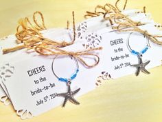 105 to 150 Starfish beach themed wine charms for wedding favors, bridal shower favors, birthday favors, anniversary, etc. Fully Customized. by Winewifehappylife on Etsy https://www.etsy.com/listing/224079272/105-to-150-starfish-beach-themed-wine
