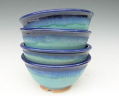 Set of 4 Noodle Bowls  Cobalt and Turquoise  por clearmountaincraft