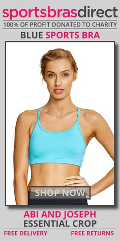 Extra comfort and flexibility in a low – medium impact, wirefree pullover sports bra featuring a racer back, padded removable cups and a supportive compression fit. The Essential Blue Sports Crop by abi and joseph is designed with comfort and flexibility in mind. Shop Now! #bra #sportsbra #blue #bluebra #bluesportsbra
