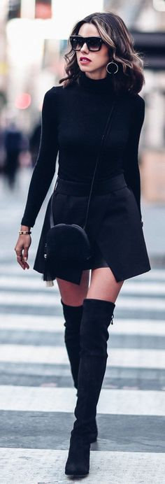 #winter #fashion /  Black Dress / Black OTK Boots