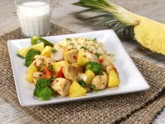 Thai Pineapple & Chicken - A deliciously sweet and savory dish featuring chicken, fresh pineapple and red bell peppers.