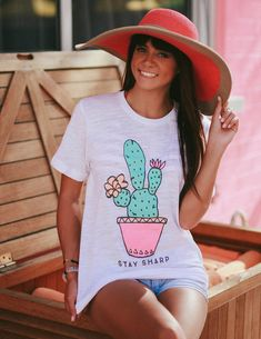Unisex boyfriend fit tee, in a cotton/poly blend fabric. Featured in a semi-sheer White Slub fabric with vibrant pastel ink colors. Models are wearing size Small. Bff Birthday Gift, Husband Birthday, Birthday Ideas, Cactus Shirt, Summer Outfits, Cute Outfits, Cactus Pot, Country Girls, Dress Me Up