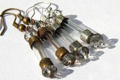Antique Fuse Steampunk Earrings. Eco-friendly. Glass Tubes. Silver ONLY. You Blow Blow Your Fuse When You've Fallen in Love. tagt team