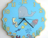 Children/ nursery wall clock- Ocean, Fish under the sea, whale, sea horse, Blue and yellow kids clock,  hand painted on round wooden clock