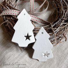 Simple Christmas Tree Clay Tags Set of Four by FrenchandSparrow
