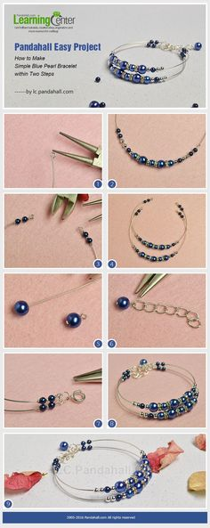 Pandahall Easy Project- How to Make Simple Blue Pearl Bracelet within Two Steps . Pandahall Easy Project-How to Einfache Blue Pearl . Pearl Jewelry, Wire Jewelry, Jewelry Crafts, Beaded Jewelry, Jewelry Holder, Gold Jewelry, Amber Jewelry, Chanel Jewelry, Jewelry Ideas