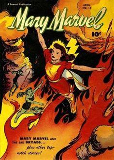 Mary Marvel and WOW Comics – Golden Age Comic Art – Cards Set – Fawcett Comics - Types of Comics Vintage Comic Books, Vintage Comics, Comic Books Art, Comic Art, Vintage Art, Original Captain Marvel, Captain Marvel Shazam, Book Cover Art, Comic Book Covers