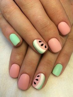 55 special summer nail designs for an extraordinary look. Best to sew… - Sommer Nagel - NailiDeasTrends - 55 special summer nail designs for an extraordinary look. It is best to sew summer nail - Stylish Nails, Trendy Nails, Watermelon Nail Art, Fruit Nail Art, Nagellack Design, Cute Nail Art Designs, Fruit Nail Designs, Short Nail Designs, Nail Designs Spring