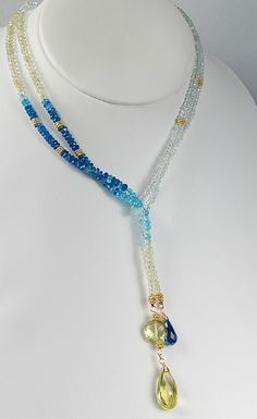 RESERVED FOR AMY Aquamarine Lariat. Long Blue Gemstone by agusha