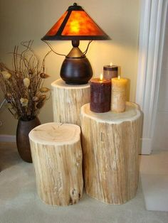 10 Crazy Home Recycling Craft Ideas - Diy Möbel Tree Trunk Table, Stump Table, Crazy Home, Deco Originale, Into The Woods, Log Furniture, Furniture Ideas, Woodworking Furniture, Furniture Online
