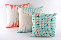 READY TO SHIP // Coral Circus Triangles Cushion - pillow. £40.00, via Etsy.