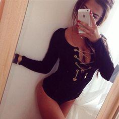5bd134f3bfe Black Chain Heart Lace-up Deep V-neck Bodycon Romper Pastel Short Jumpsuit