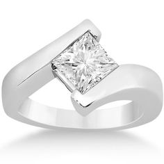 Amazon.com: Princess Cut Solitaire Twist Style Tension Set Diamond Engagement Ring for women in platinum: Allurez: Jewelry