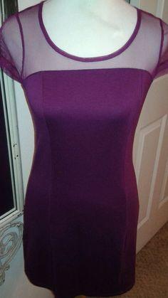 Hearts ♡ MAC + JAC Ladies knit and mesh Dress. Purple Plum SZ S  Cap sleeve #MacJac #StretchBodycon #Clubwear
