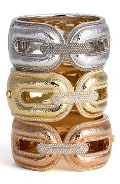 Nadri 'Hammered Pavé' Wide Hinged Cuff ( #Nordstrom Exclusive)