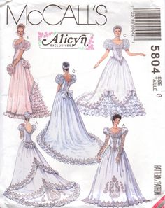 McCall's 5804 Alicyn Bridal Gown Pattern Size 12 : Vintage Sewing Patterns, Heavens To Betsy Wedding Dress Patterns, Vintage Dress Patterns, Vintage Gowns, Vintage Bridal, Vintage Outfits, Wedding Dresses, Bridesmaid Gowns, Gown Wedding, Victorian Fashion