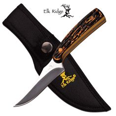 """Elk Ridge """"Pheasant Hunter"""" FIXED BLADE KNIFE Features: - FIXED BLADE - 7"""" OVERALL - 3.25"""" 3MM BLADE, STAINLESS STEEL - MIRROR FINISH PLAIN CLIP POINT BLADE - 3.75"""" SIMULATED BONE HANDLE - INCLUDES 16"""