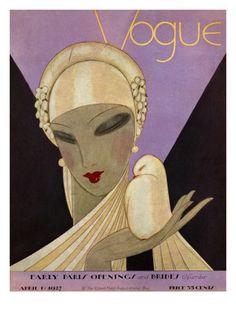 Vogue Cover - April 1927 Poster Print  by Eduardo Garcia Benito at the Condé Nast Collection