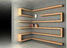 35 Smart Corner Shelf Design Ideas That Will Change Your Room Style – Home Office Design Diy Corner Shelf Design, Bookshelf Design, Wall Shelves Design, Corner Shelves, Office Bookshelves, Home Library Design, Home Room Design, Home Office Design, Home Interior Design