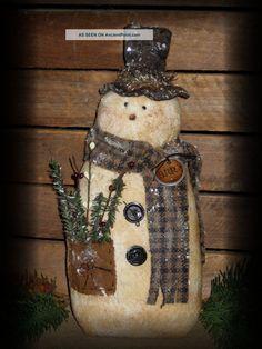 Primtive fabric snowman | Primitive Grubby Winter Snowman Sitter Olde Attic Primitives ...