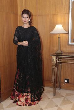 Nimrat Kaur Looking Stunning Black Lehenga Saree