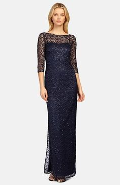 $640, Kay Unger Sequin Lace Colum Gown. Sold by Nordstrom. Click for more info: https://lookastic.com/women/shop_items/334376/redirect