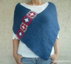 Mujeres Poncho Azul mantón suéter bufanda con Afganistán por bysweetmom