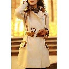 #trendsgal.com - #Trendsgal Faux Leather Splicing Lace Up Coat - AdoreWe.com