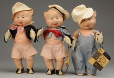 "Lot # : 1115 - Lot of 3: Alexander/Walt Disney ""3 Little Pigs"""