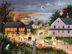 Items similar to Barn Dance - Halloween - Limited Edition Print _ by J. Munro on Etsy Primitive Folk Art, Art Prints, Art Painting, Halloween Folk Art, Americana Art, Painting, Art, Folk Art Painting, Country Art