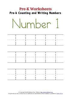 Pre-K Writing with the Number 1 / Activity Worksheets to Write and Trace the Number 1 Preschool Number Worksheets, Letter Tracing Worksheets, Number Tracing, Free Kindergarten Worksheets, 1st Grade Worksheets, Numbers Preschool, Tracing Letters, Writing Worksheets, Kindergarten Writing