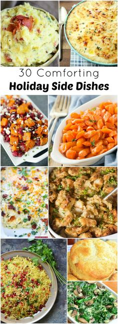 30 Comforting Holiday Side Dishes Anyone else noticed just how fast this year passed by? I can't seem to catch up on the holidays . Christmas Side Dishes, Christmas Dinner Menu, Thanksgiving Side Dishes, Christmas Cooking, Christmas Recipes, Turkey Side Dishes, Thanksgiving Recipes, Holiday Meals, Christmas Parties