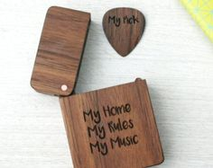 wooden plectrum and box, engraved and personalised gift for musicians