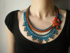 Asclepias Curassavica  - Beaded Crochet Necklace - Turquoise Blue Orange Red