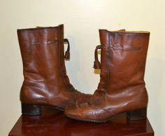 1970s Cobbies Leather Boots Size 5 1/2 by KrisVintageClothing