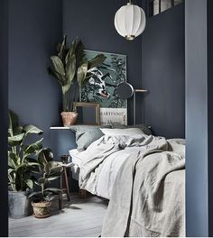 Gravity Home: Small Bedroom with Plants in a Tiny Blue Stockholm Apartment - Interior Design Fans Small Master Bedroom, Gray Bedroom, Modern Bedroom, Blue Grey Bedrooms, Dark Blue Bedroom Walls, Indigo Bedroom, Small Bedrooms, Dark Bedrooms, Minimalist Bedroom