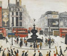L. S. Lowry (English, 1887-1976), Piccadilly Circus, 1959. Oil on canvas, 19¾ x 24 in.