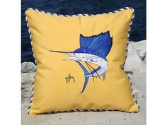 """Guy Harvey Cord Pillow - 20"""" - Sailfish - Buttercup by Guy Harvey. $169.95. Dimensions: 20 x 20. Color: Buttercup. Design: Sailfish. The Guy Harvey Cord Pillow is made with Sunbrella Marine Grade Canvas and beautifully embroidered with Madiera chlorine resistant threads. All weatherproof construction, Marine grade zippers, GORE-TEX threads, UV, Mold and Mildew resistant. The world's largest selling outdoor fabric, with the ability to repel (beads) water, resists soil, both w..."""