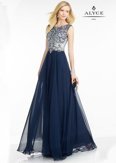 Black Label by Alyce 5741 Midnight Blue Chiffon Cap Sleeve A-Line Prom Dress