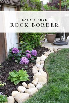 River Rock Planter Border - Ella Claire - This beautiful river rock border is a cheap/free and easy way to add beauty and distinction to your - River Rock Landscaping, Landscaping With Rocks, Outdoor Landscaping, Front Yard Landscaping, Backyard Landscaping, Outdoor Gardens, Gardening With Rocks, Front Patio Ideas, Decorative Rock Landscaping