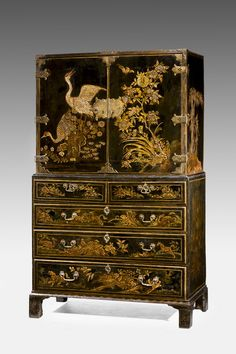 """Charles II period lacquered Cabinet on Chest. Ca1680 England. 67""""H x 40""""W x 21""""D."""